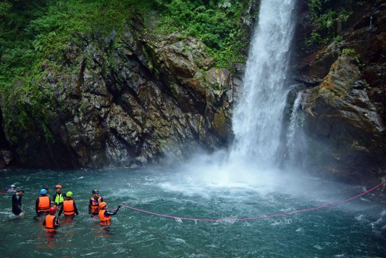 River tracing waterfall