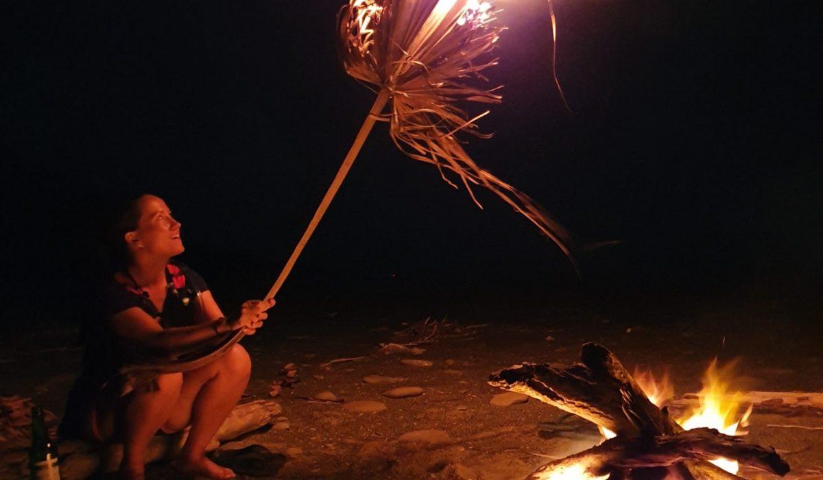 Camping, beach fire in taiwan